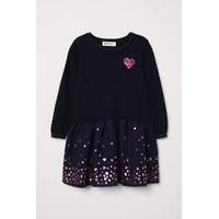 H & M - Kleid mit ausgestelltem Rock - Dunkelblau/Herz - Kinder