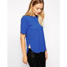 Warehouse - T-Shirt aus Kreppstoff mit Seitenschlitz - Colbalt