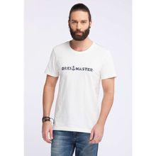 Dreimaster Herren Basic T-Shirt mit Print weiß Herren