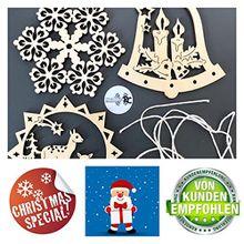 3x Fensterbild Holz | Holzanhänger | Weihnachtsschmuck | Christbaumanhänger | Holz Anhänger | Fensterdeko Weihnachten | Set 1 Schneeflocke + Rehe + Glocke mit Kerzen | 8cm Durchmesser