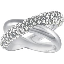 Crystaldust Cross Ring, grau, palladiniert