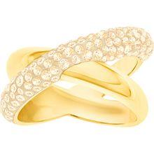 Crystaldust Cross Ring, goldfarben, vergoldet
