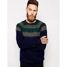 ASOS - Gestreifter Pullover mit Mohair - Marineblau