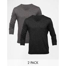ASOS - Baumwollpullover mit V-Ausschnitt im 2er-Pack, Sie sparen 17% - Mehrfarbig