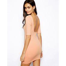 Glamorous - Minikleid aus strukturiertem Jersey mit U-Ausschnitt hinten - Rosa