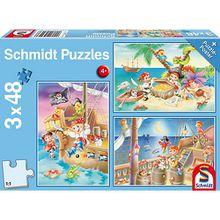Kinderpuzzleset 3 x 48 Teile, Piratenbande