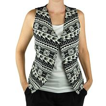 virblatt – Hippie Weste Damen Ethno Jacke mit handgewebten Muster als Hippie Kleidung und alternative Kleidung im Ethno Style - Verdreht BL/W