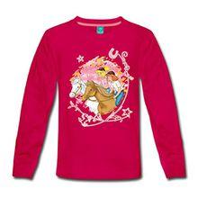 Spreadshirt Bibi Und Tina Wettreiten Im Wald Kinder Premium Langarmshirt, 110/116 (4 Jahre), dunkles Pink