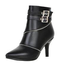 AIYOUMEI Damen Spitz Kleiner Absatz Stiletto Stiefeletten mit Reißverschluss und Scnalle Klassischer Stiefel