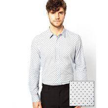 ASOS - Langärmliges, elegantes Hemd mit Punktmuster - Blau