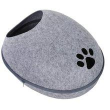 PawHut Katzenhöhle mit Wärmefunktion grau