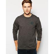 Converse - All Star - Sweatshirt mit Rundhalsausschnit und gummiertem Logoaufnäher - Grau