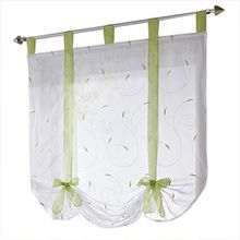 Souarts Grün Stickerei Blumen Transparent Gardine Vorhang Raffgardinen Raffrollo Deko für Wohnzimmer Schlafzimmer Studierzimmer 140x140cm