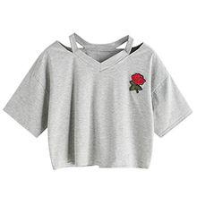 Choies Damen T-shirts Rose Stickerei Risse V Ausschnitt Kurzarm Bauchfrei Sommer Crop Oberteil Tops Grau XL