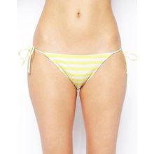 ASOS - Mix and Match - Seitlich geschnürte, brasilianische Micro-Bikinihose mit Streifen
