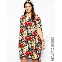ASOS CURVE - Exklusives Kleid mit asymmetrischem Saum und Vintage-Blumenverzierung - Mehrfarbig