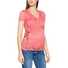 MAMALICIOUS Damen Umstandstop Mlmivana S/S Woven Lace Wrap Top, Rosa (Slate Rose), 36 (Herstellergröße: S)