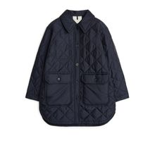 Long Quilted Jacket - Blue