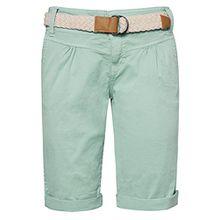 Fresh Made Damen Bermuda-Shorts in Pastellfarben mit Flecht-Gürtel | Elegante kurze Hose im Chino-Style light-turquoise XS