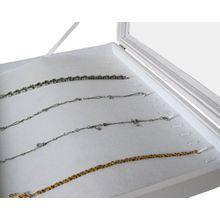 Yudu® Schmuckkaste Schaukasten für Ketten Glasdeckel weiss
