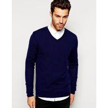 ASOS - Pullover aus Merinowolle mit V-Ausschnitt - Marineblau