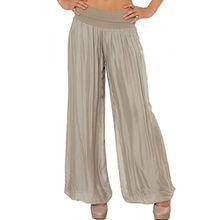 CASPAR KHS010 Damen elegante lange Seiden Chiffon Marlene Hose / Hosenrock mit hohem Stretch Bund, Farbe:schlamm