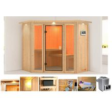 KARIBU Sauna »Flora 1«, 210x210x202 cm, 9 kW Ofen mit ext. Steuerung, Dachkranz