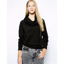 Puma - Sweatshirt mit Wasserfallausschnitt - Schwarz