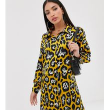 Missguided Tall - Hemdkleid mit gelbem Leopardenmuster - Gelb