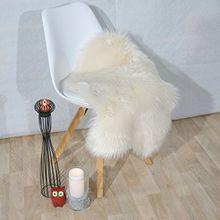 Fell Teppich Schaffell Lammfell Imitat Kunstfell Dekofell MIA bei 30 Grad waschbar aus 100% Polyester (055 x 080 cm Fell, beige 006)