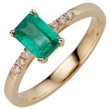 Sambia Smaragd 0,80ct Ring Brillanten 0,08ct Gold 585