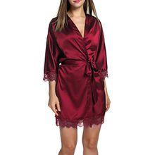 HOTOUCH Damen Satin Kimono Nachthemd Nachtwäsche Pyjama Set Morgenmante Bademäntel Schlafanzüge Mit Tiefer V-Ausschnitt Blumenspitze