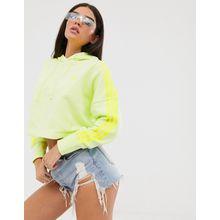 adidas Originals - adicolor - Neongelbes Kapuzenoberteil in kurzem Schnitt - Gelb