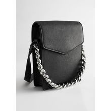 Chunky Chain Leather Envelope Bag - Black