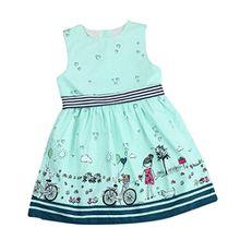 HUIHUI Kleid Mädchen, Toddler Mädchen Kleid Rosa Ärmellos Sommerkleid Party Prinzessin Dress Casual T-shirt Kleid Frühlings Herbst Cocktailkleid (6-7Jahre, Grün)