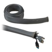 2er Set Kabelschlauch 2m mit Reißverschluss grau