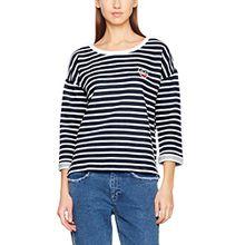 Hilfiger Denim Damen Pullover Thdw Stripe BN Hknit 3/4 Slv 17, Weiß (Snow White/Dress Blues 902), Medium