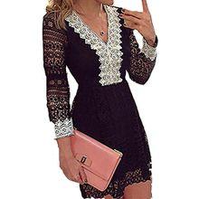Damen Herbst Art Und Weise Elegant Langärmeligen Kleid Spitze V-Ausschnitt Schwarz Und Weiß Sogar Miniröcke (L, Schwarz)