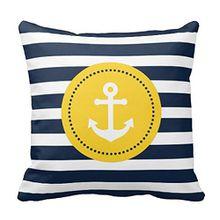 Anker werfen Kissen Fall für Sofa Blau Weiß Gelb Maritim Anker Kissenbezug Kissen Kissenbezug