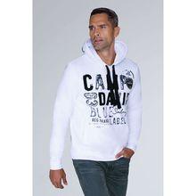 CAMP DAVID Hoodie mit Raw Edges und Used Artwork Sweatshirts weiß Herren