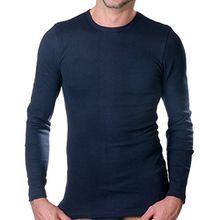 HERMKO 3640 Herren langarm Shirt aus 100% EU Baumwolle, long-sleeved underwear for men Männer Unterhemd mit langen Armen, Farbe:marine, Größe:D 7 = EU XL