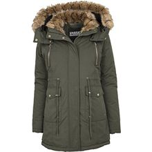 Urban Classics Damen Ladies Imitation Fur Parka, Grün (Darkolive 551), X-Large