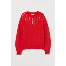 H & M - Strickpullover mit Perlen - Red - Damen