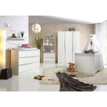 Geuther Komplett Kinderzimmer Wave Pastell, 3-tlg. (Kinderbett 70 x 140 cm, Wickelkommode und 3-türiger Kleiderschrank), weiß/blau