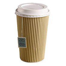 Thali Outlet Leeds Tischdeckchen aus Kraftpapier, 100 x 16 oz Ripple Pappbecher weißem Deckel, 3 lagig, isoliert, für Tee und Kaffee, Cappuccino heiße Getränke