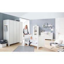 Schardt Komplett Kinderzimmer Milano Weiß, 3-tlg.(Kombi-Kinderbett 70x140, Umbauseiten, extra breiter Wickelkommode mit Wickelaufsatz und Kleiderschrank 4-trg.), Buche teilmassiv, weiß