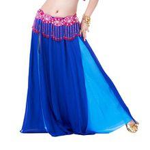 YouPue Bauchtanz Taille Kette Damen Tanzkostüm Bekleidung Zubehör Bauchtanzkostüme Bauchtanzperformance Kostüm BH Gürtel Rock Anzug Rock sexy indischen Tanz gehobenen Komfort Gürtel Kostüme Sapphire Lake Blue