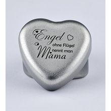 """Duftkerze Teelicht Vanille in Herzform mit Gravur """"Engel ohne Flügel nennt man Mama"""" auf dem Deckel als Geschenk zum Muttertag, Geburtstag oder zu Weihnachten"""