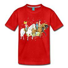 Spreadshirt Bibi und Tina Ausritt mit Alexander Falkenstein Kinder Premium T-Shirt, 122/128 (6 Jahre), Rot