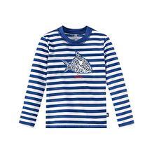 Schiesser Jungen Bademantel Aqua Capt´N Sharky Bade-Shirt, Blau (Admiral 801), 128 (Herstellergröße:128)